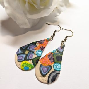Mixed pattern clay slab teardrop earrings - style 1