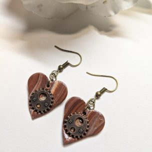 Steampunk style heart dangly earrings- style 2