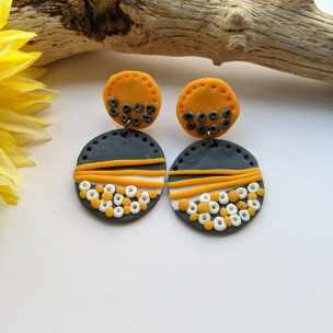 Grey and Yellow dot drop earrings
