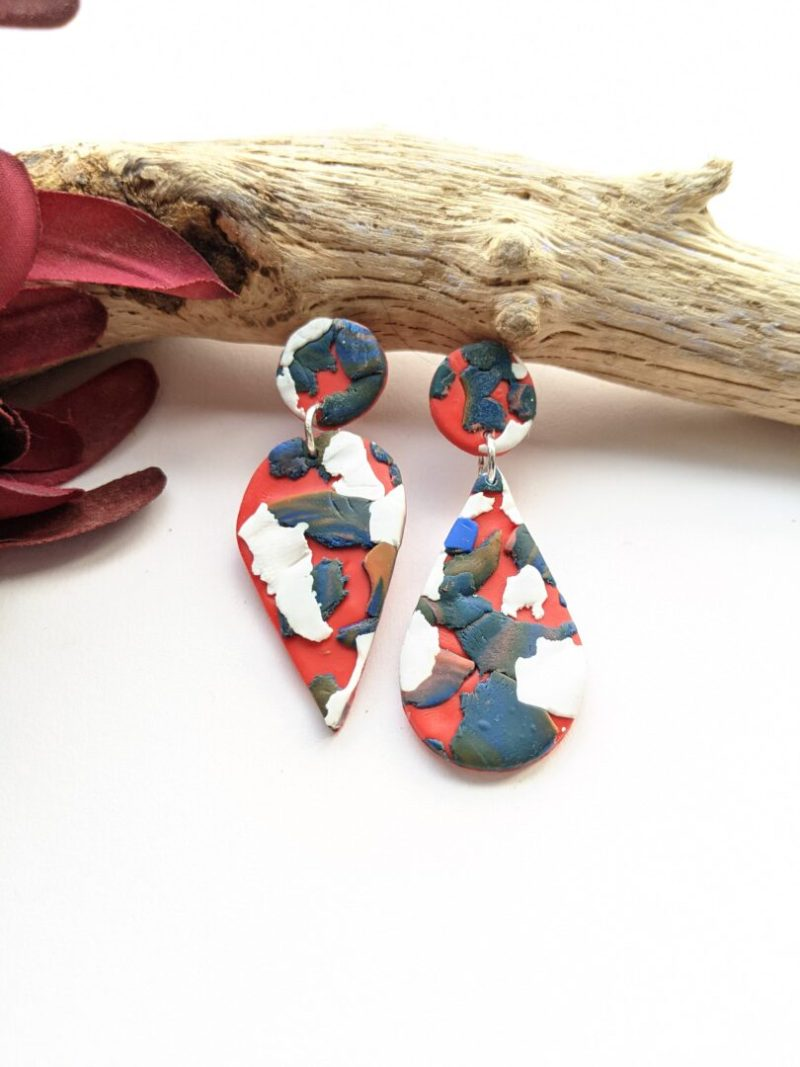 Asymentric red, grey and white stud drop earrings