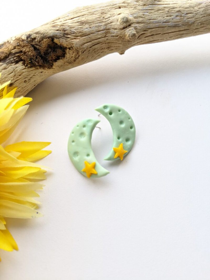 Moon and Starts large stud earrings