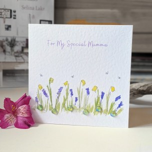 spring flowers and sparkly beads mothers day card
