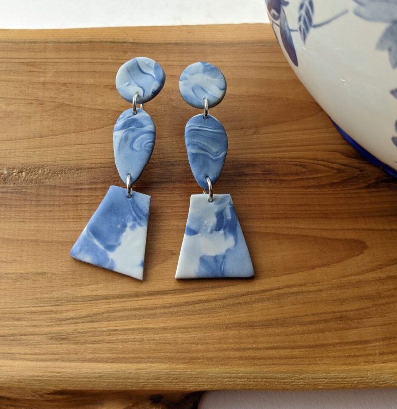 marble effect stud dangly earrings one round, one teardrop and one asymmetrical square bead on each