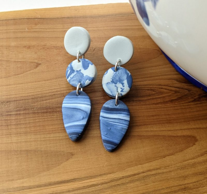 marble effect stud dangly earrings - one grey and two different marble effect beads
