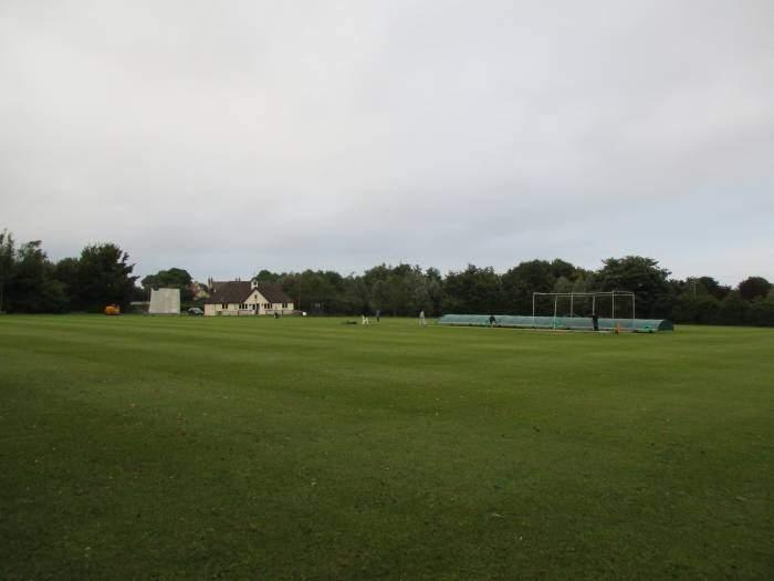 Across the cricket field