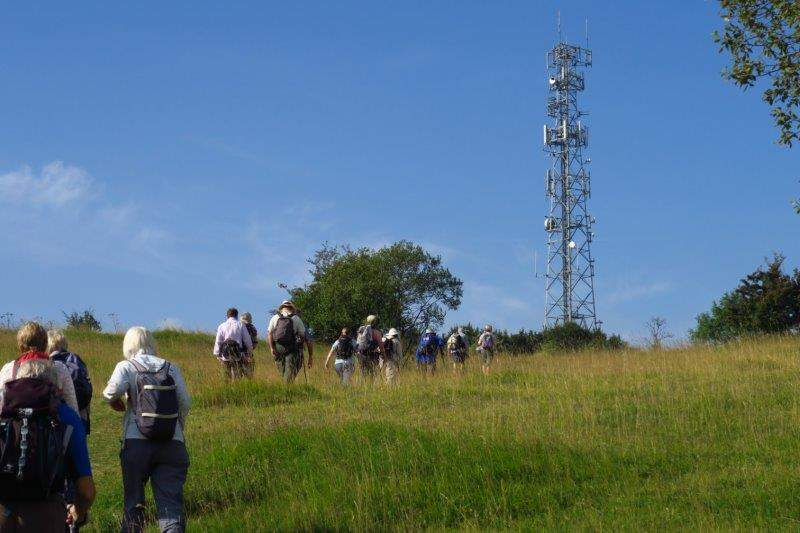 Headiing uphill towards a communication tower