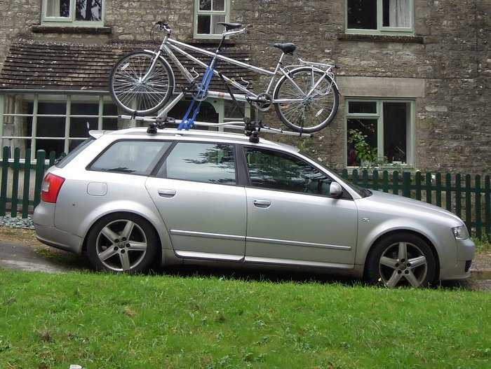 Ever seen a tandem on top of a car? A rare sight