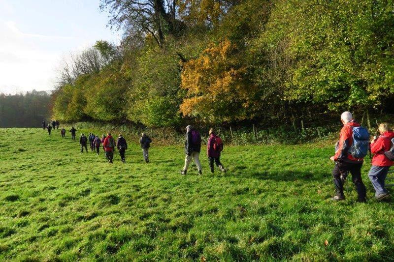 Leaving the Golden Heart at Nettleton Bottom we head across fields