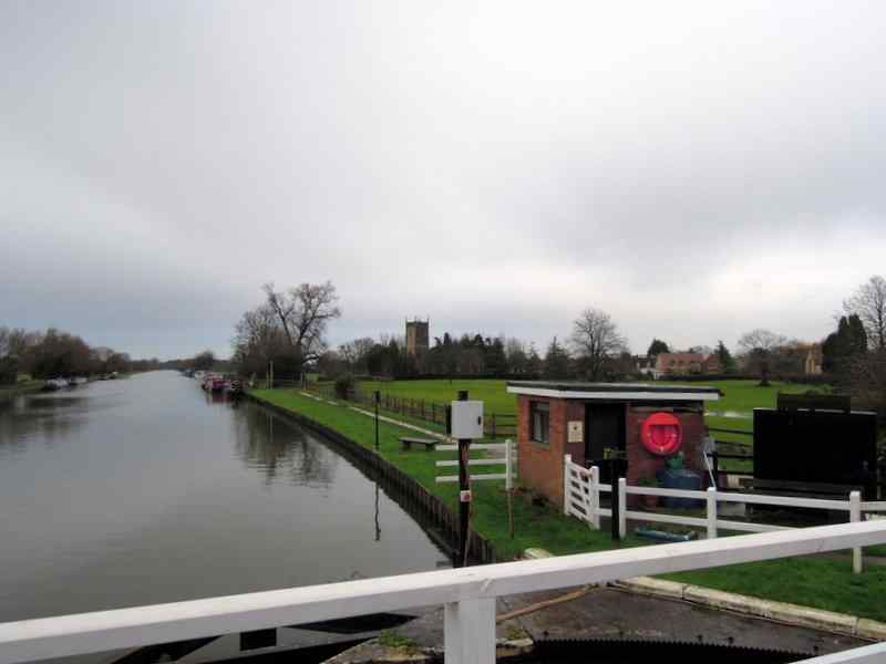 We cross the canal and spot our destination - Frampton with its church
