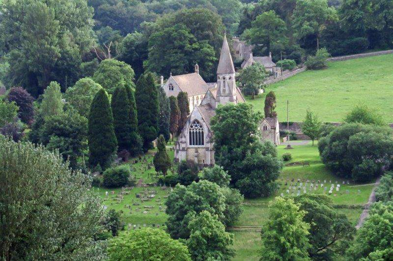 Looking over the valley to Woodchester Priory Church