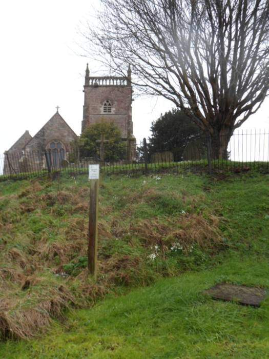 Grey skies in the car park   Of the Anchor Inn at Oldbury-on-Severn  Interesting artefacts  It's very, very wet  It's a river in front but the rest is floods  We might need one of these! I put my camera away to protect it from the terrible rain.  Near the end of the walk I risk taking a photo of St. Alrida's church. Arilda was a virgin martyr who apparently was slain by a youth named Municus when she refused to lie with him. The church was built on this hill because of a cow!