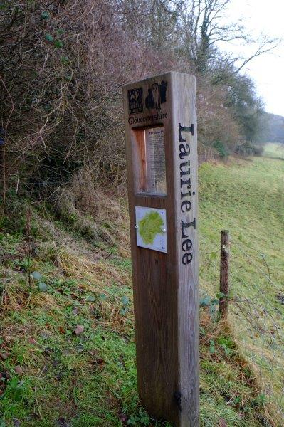A reminder that we are now on the Laurie Lee Wildlife Walk