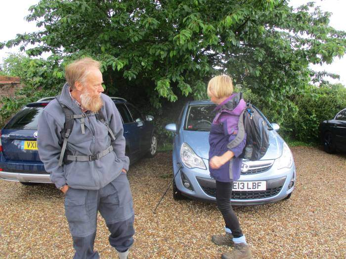 It's been raining. Only Sally and Keith on Enid's walk