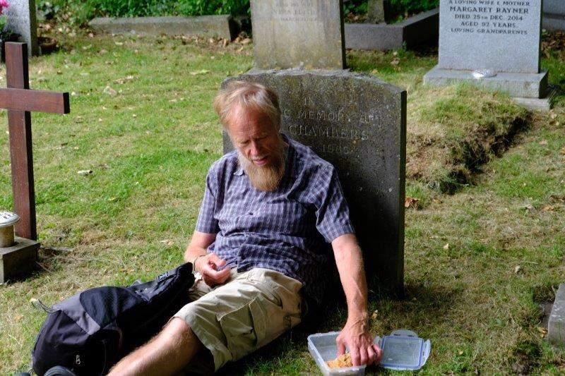 We take a break in the churchyard