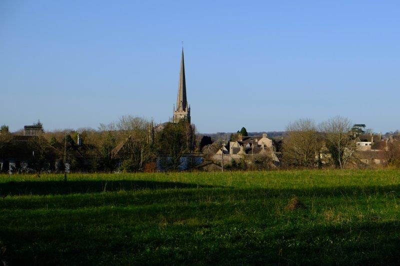 The church steeple behind us