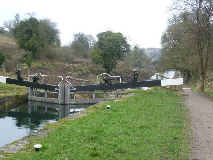 Canal trust renovation work around Griffin's Mill lock.