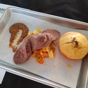 Bourbon Antelope Sausage with Chow Chow, Bourbon Mustard and Cornbread