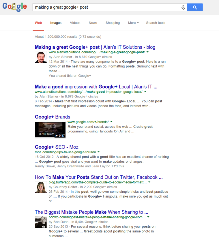 Google Search results with Authorship