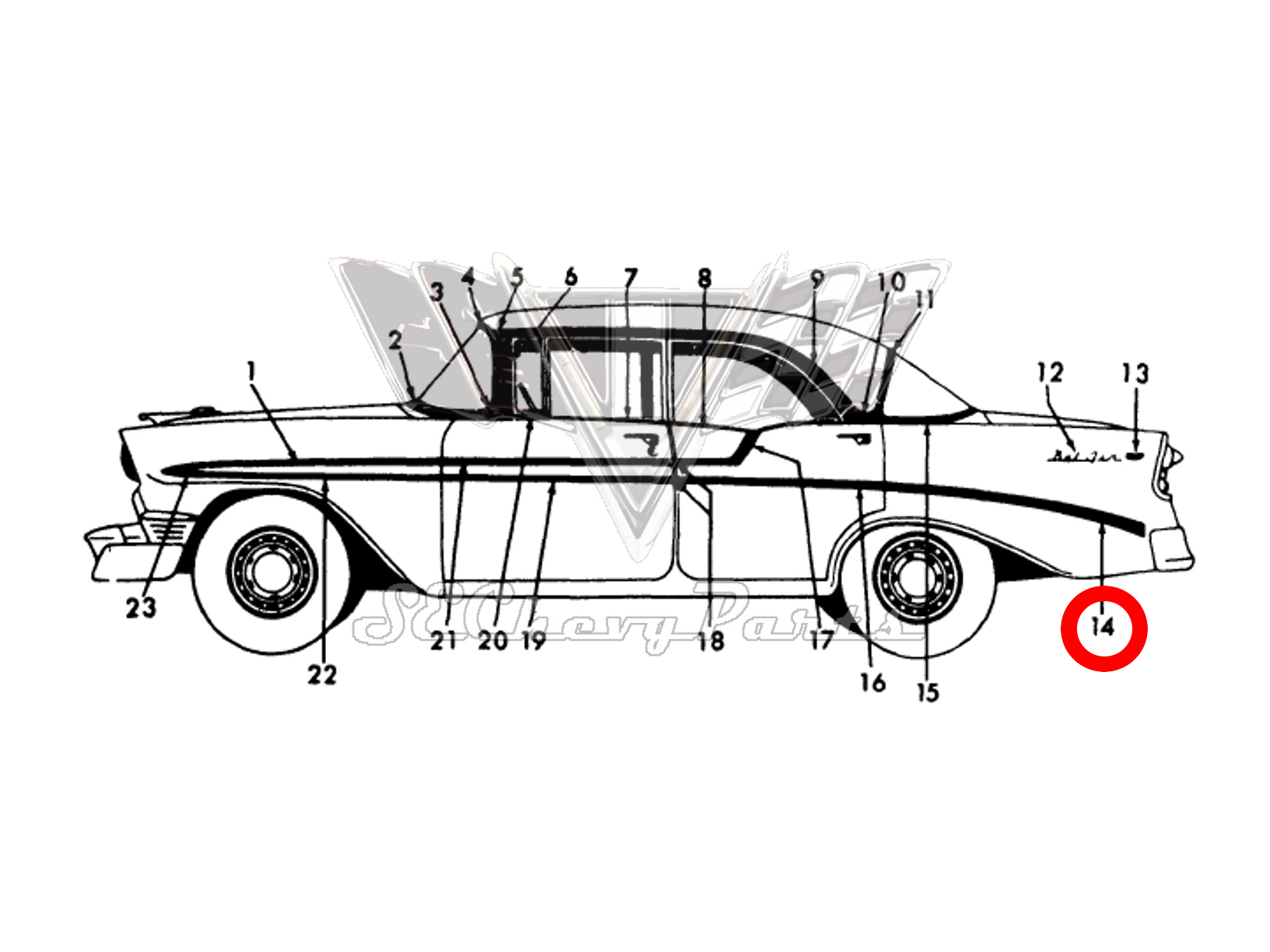 Chevy Bel Air 4 Door Nos Left Rear Quarter Molding