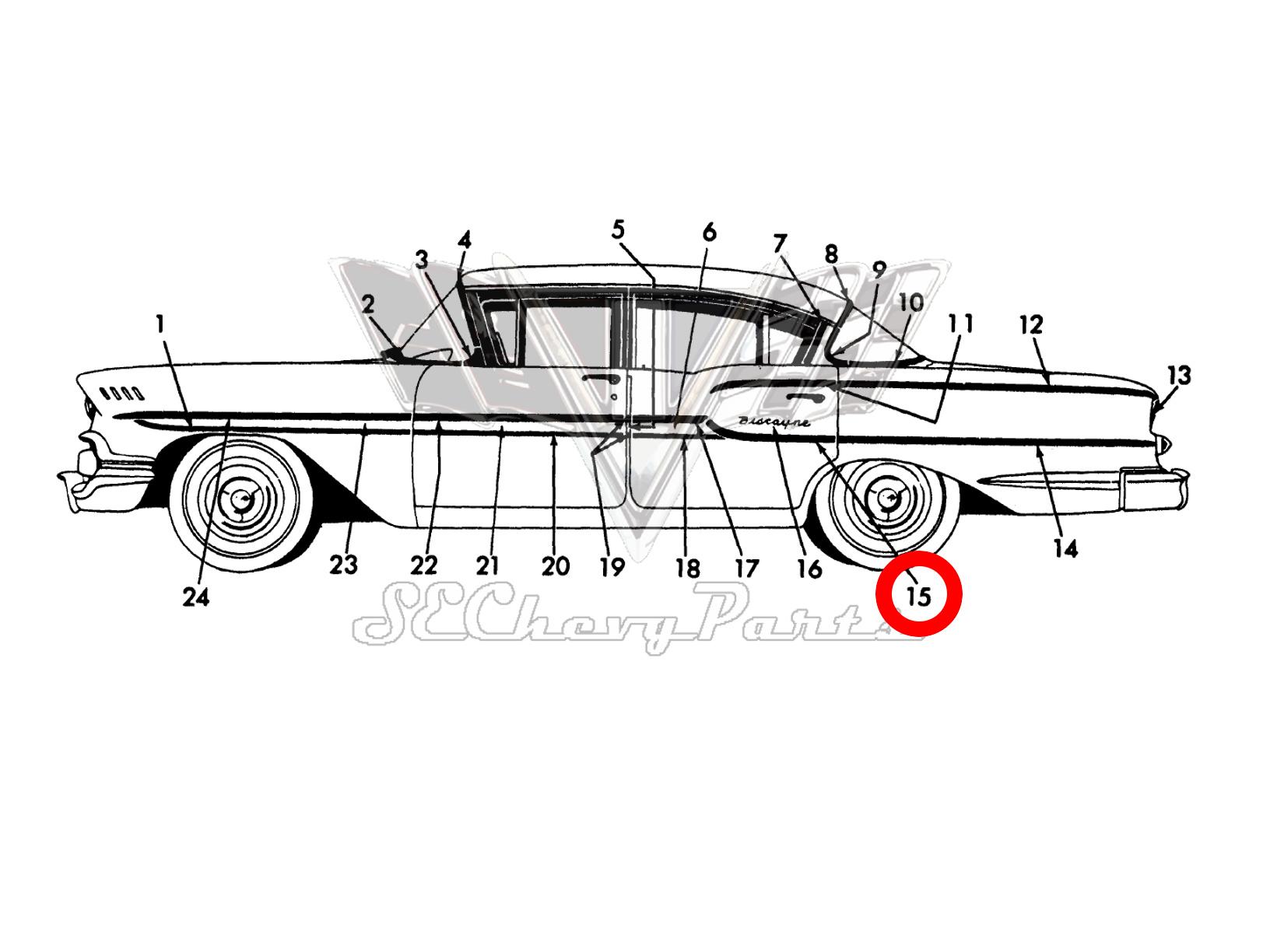 Chevy 4 Door Biscayne Left Rear Door Rear Trim