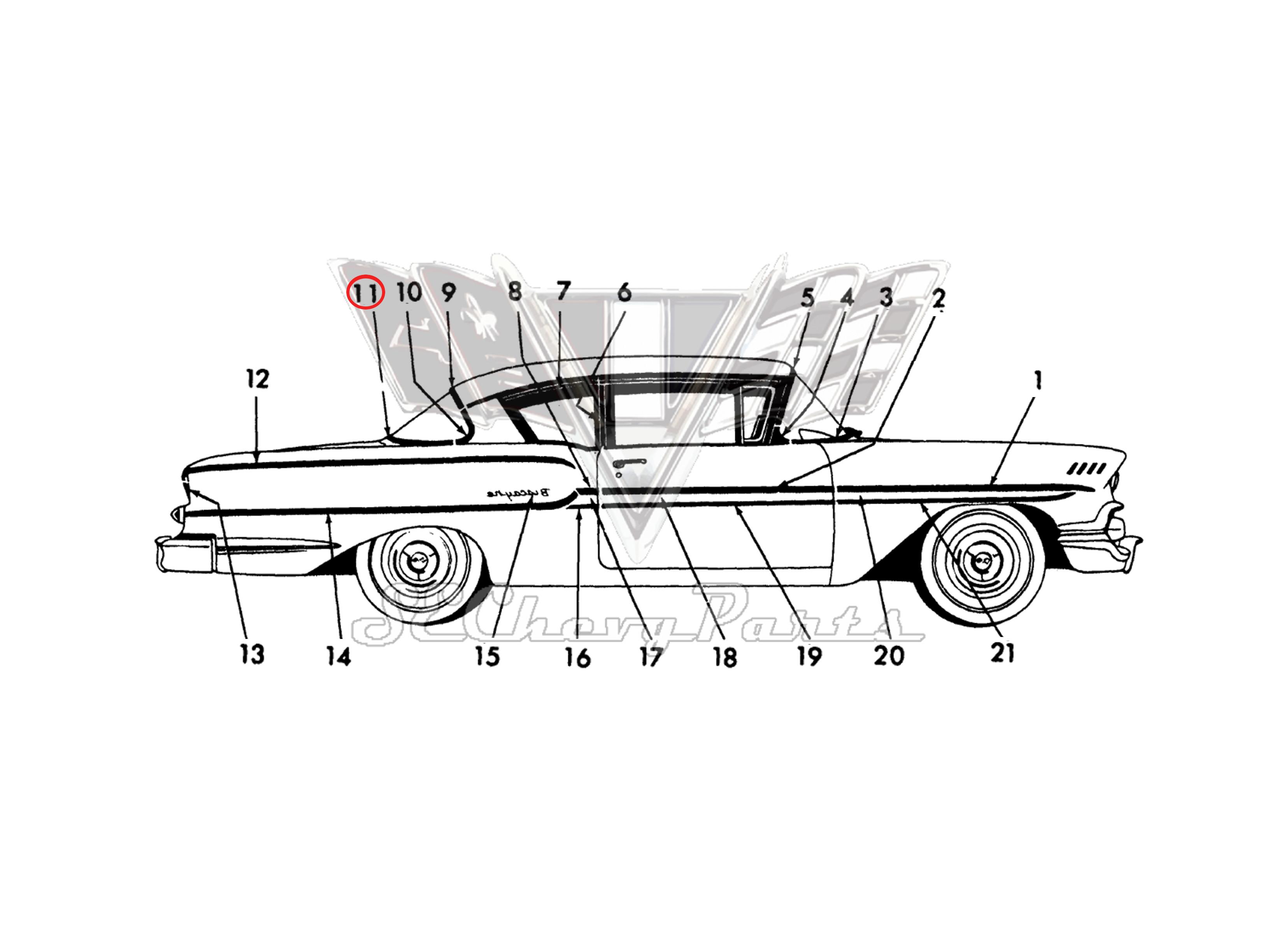 Chevy 4 Door Biscayne Delray Right Rear Door Upper