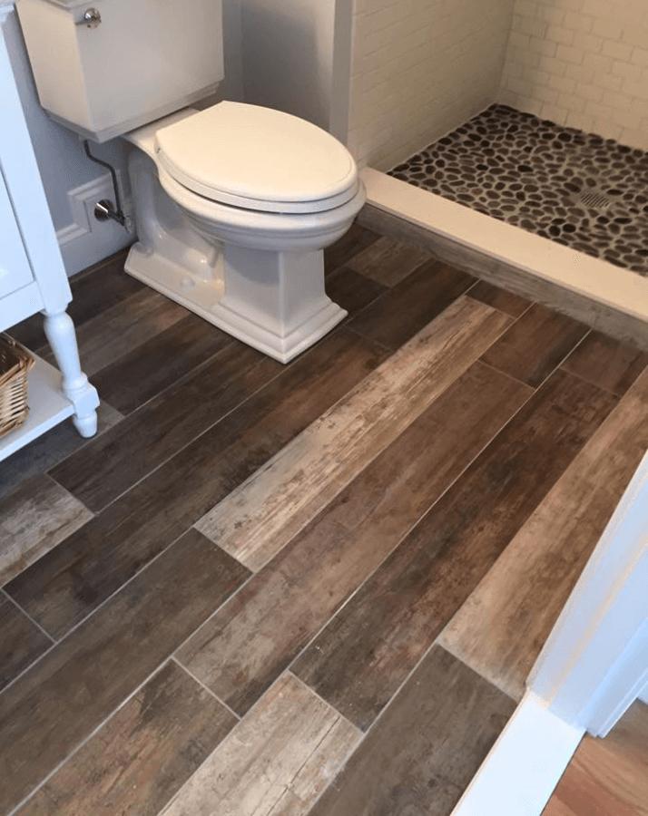 hardwood look tile bathroom renovation