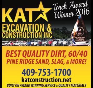 KAT Construction Pine Ridge Sand Southeast Texas, 2016 BBB Torch Award Winner Beaumont Tx, 2016 BBB Torch Award Winner Southeast Texas, 2016 BBB Torch Award Winner SETX, 2016 BBB Torch Award Winner Golden Triangle TX, 2016 BBB Torch Award Winner Jefferson County Tx,