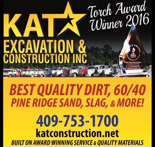 KAT Construction Pine Ridge Sand Southeast Texas, KAT Excavation and Construction, Tank Pad Contractor Southeast Texas, Oilfield Services Southeast Texas, Oilfield Contractor Beaumont Tx, Pine Ridge Sand Southeast Texas, Torch Awards Beaumont TX, BBB Torch Award Southeast Texas,