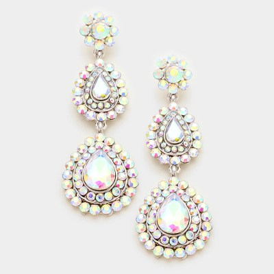 Southern Belle Glitz Caris Silver AB Earrings