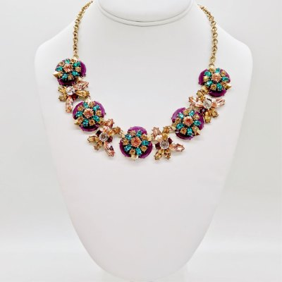 Southern Belle Glitz Hazel Plum Statement Necklace