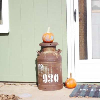 Personalized Address Marker On Old Milk Can