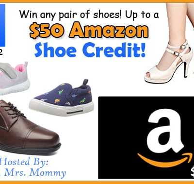 Win any pair of shoes! Up to $50 Amazon Shoe Credit Giveaway! Ends 4/22