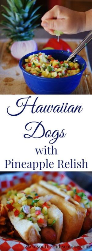 Sweet pineapple relish and easy to make pineapple mustard make these Hawaiian hot dogs a new summer meal favorite! Perfect for cookouts, family reunions, or easy meal planning.