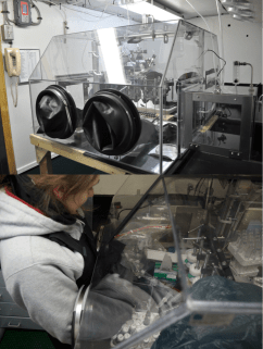 upper panel: the entire view of glove box, lower panel: Liz Bucceri working on sediment sample processing in glove box. Photo by Megumi Shimizu