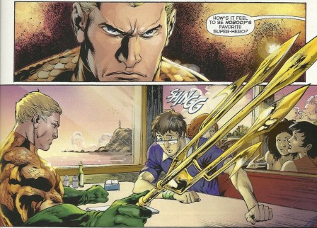 Aquaman has an unpleasant lunch. From New 52 Aquaman #1