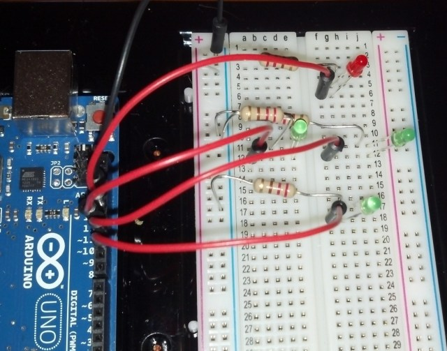 The LED array connected to an Arduino Uno.