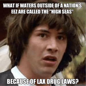 "Conspiracy Keanu is likely incorrect. The etymology is debated, but may be related to a no-longer-used synonym for ""deep water"", or the height of offshore waves"