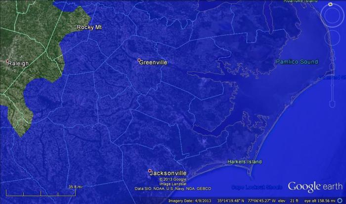 Good thing you outlawed sea level rise, North Carolina, 80 meters