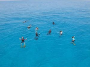 Students prepare for snorkel on a reef to practice coral identification skills