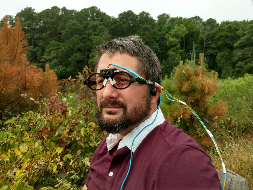 The author wearing a head mounted LiDAR array, looking very pensive.