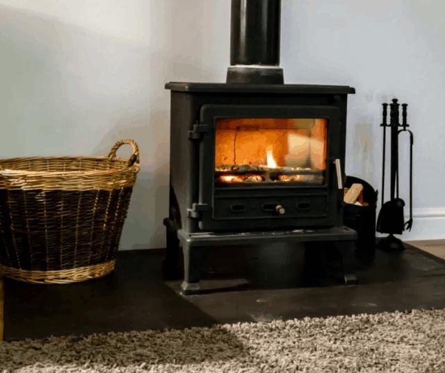 A lit stove