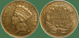 1854-D Three Dollar