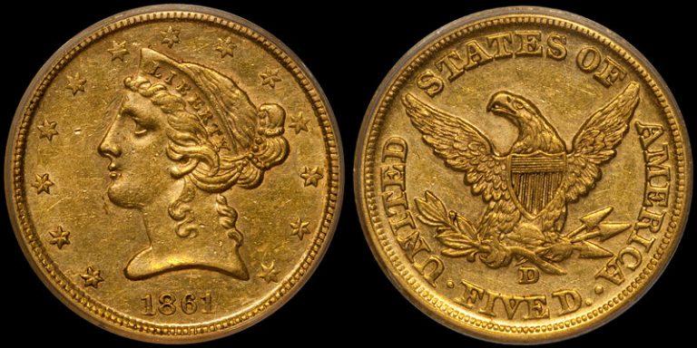 1861-D Five Dollar
