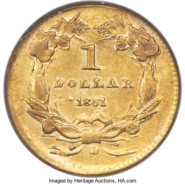 1861-D Gold Dollar Reverse