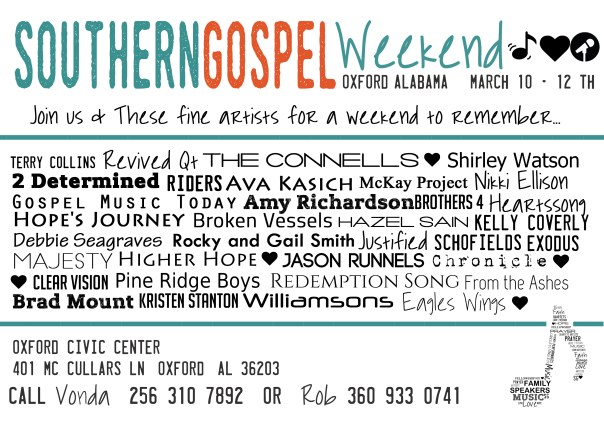 Southern Gospel Weekend March 10th To The 12th