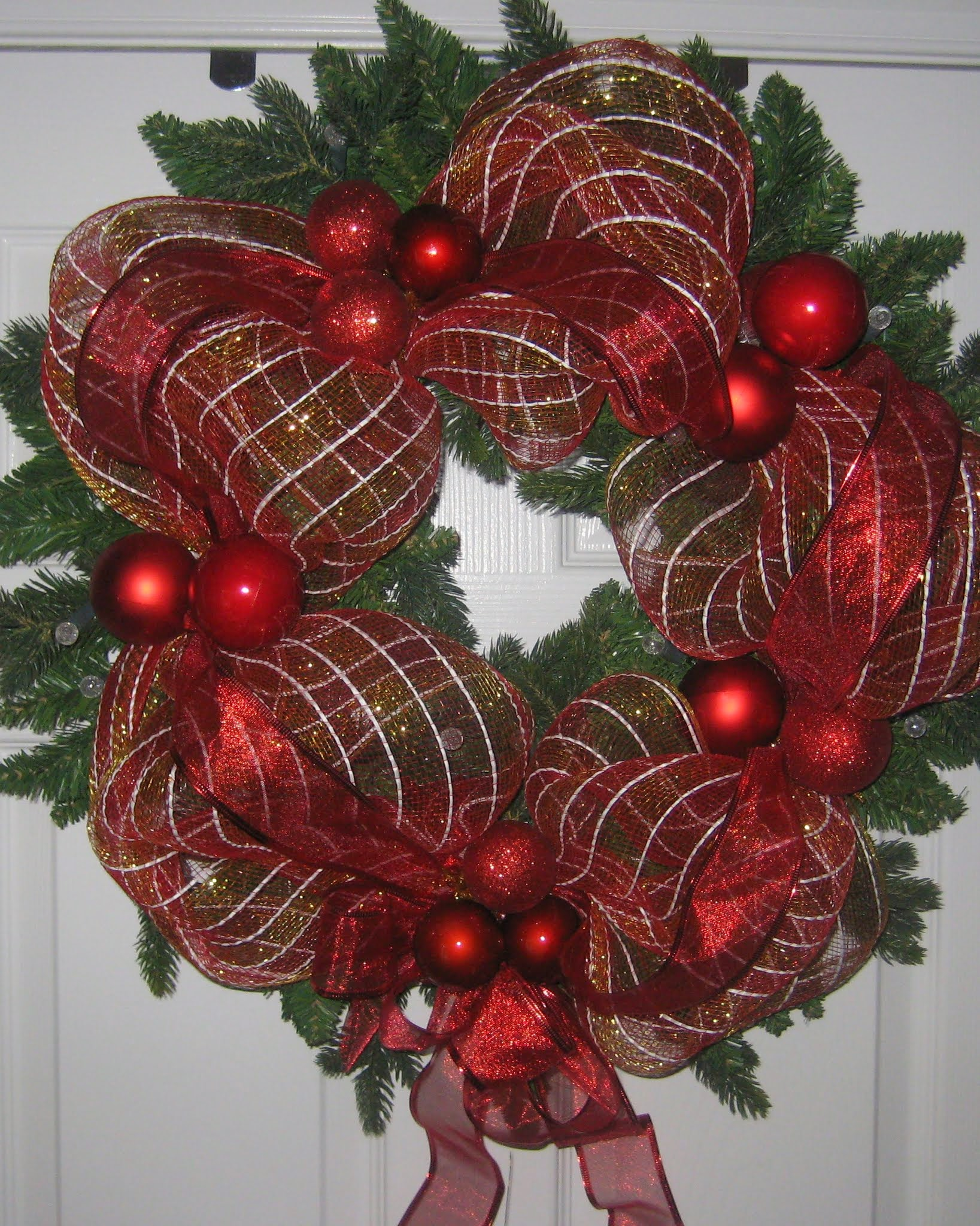 My DIY Ribbon Mesh Wrapped Wreath Project.