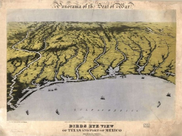 Panorama of the seat of war, with a bird's eye view of Texas and part of Mexico in 1861. This shows the coastline of the Gulf of Mexico from Louisiana to the Rio Grande River.