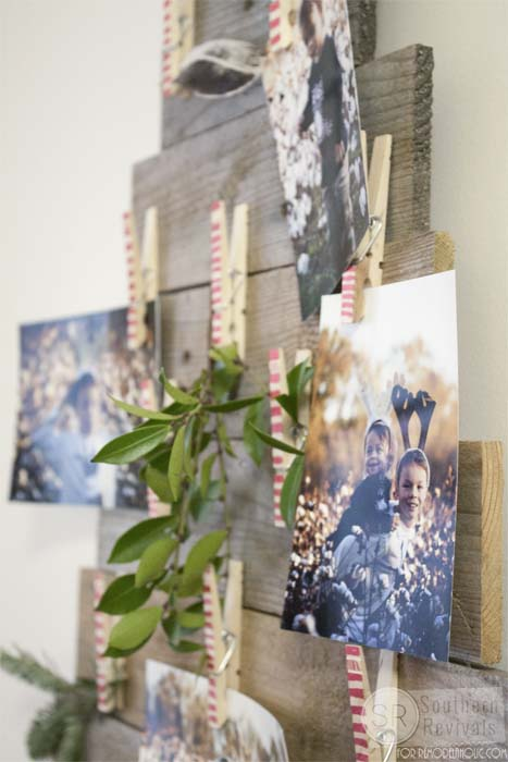 DIY Pallet Wood Christmas Tree Photo Amp Card Holder