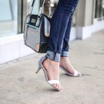 Blue and White Stripped Heels