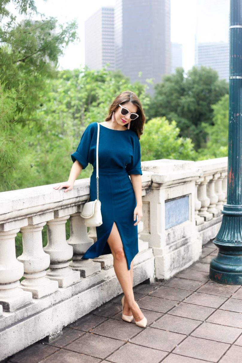 Teal Dress with Split Front....
